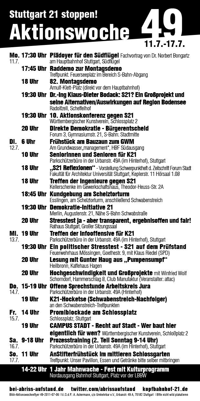 Stuttgart 21: Aktionswoche 49 (11.07.-17.07.)