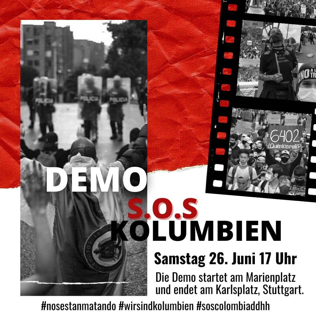 Demo S.O.S. Kolumbien 26. Juni 2021 Stuttgart